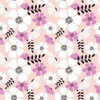 patrón floral rosa pastel vector