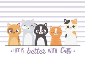 Life is better with cats postcard template