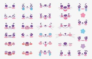 Kawaii animals emoji faces set vector