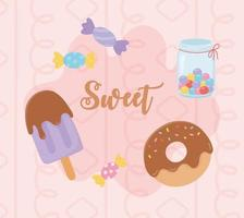 Set of sweet treats with pattern vector