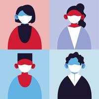 Set of people with medical masks, protection of pandemic infection by coronavirus