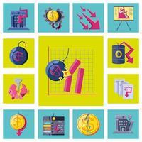 set van samengevouwen economie iconen