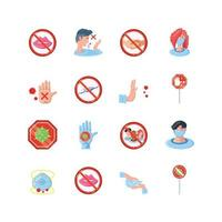 Icons set of coronavirus prevention