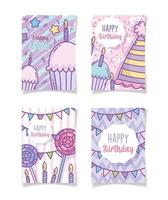 Happy birthday greeting cards template vector