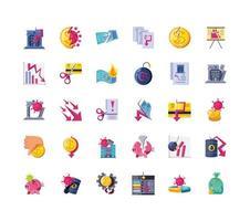 set van iconen van ingestorte economie