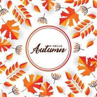 cirkel '' hallo herfst '' rand en oranje, rood bladframe