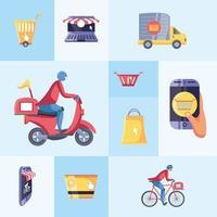 Satz von Symbolen Online-Shopping und Lieferung