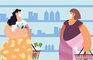 mujeres con mascarilla médica en el supermercado.