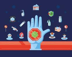 Stop hand with a set of icons of coronavirus prevention