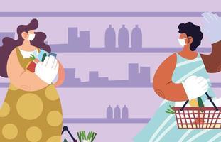 Mujeres que usan mascarilla médica y guantes en el supermercado.