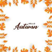 '' hallo herfst '' rand en oranje blad frame