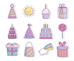 Assorted birthday celebration party icons vector