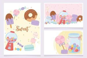 Conjunto de tarjetas de dulces y postres. vector