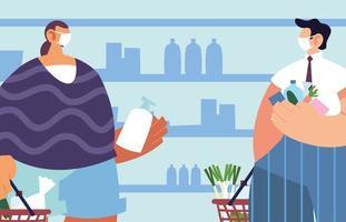hommes avec masque médical dans le supermarché avec précautions par coronavirus