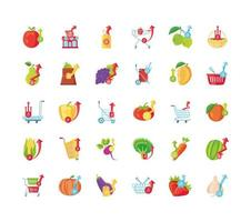 Icons set of food prices  vector