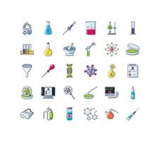 Set of icons of laboratory research