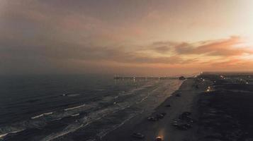Aerial of Padre Island Beach at sunset