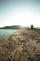 Torre de salvavidas en la playa durante el amanecer