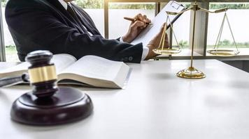 Male lawyer working on a documents