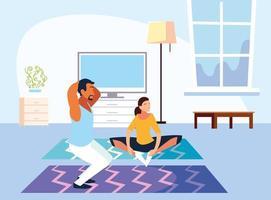couple faisant un entraînement à domicile