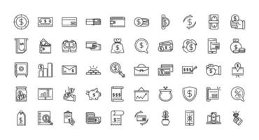 Finances and business line-art icon set vector