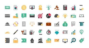 Finances and business icon set vector