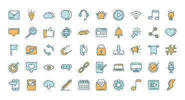 Social media line and fill icon set vector