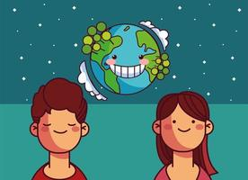 World planet earth and people vector