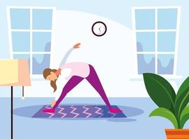 Scene of young woman doing home workout