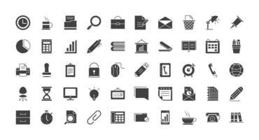 suministros de oficina y papelería conjunto de iconos de silueta vector