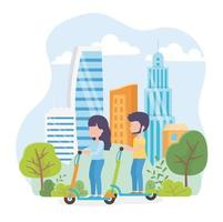 Couple riding electric scooters outdoors vector