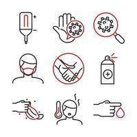 assistenza medica bicolore e set di icone line-art covid-19