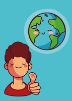 Cute planet earth and man with thumb up