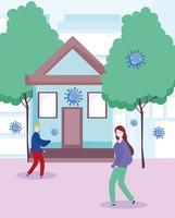 coronavirus jóvenes distanciamiento social al aire libre con máscaras