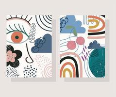 Cute hand drawn contemporary card set