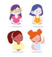 Little girls character set vector