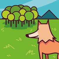 raposa selvagem em uma paisagem natural com algumas árvores