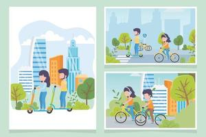 Cards with people riding bikes and electric scooters in different scenarios vector