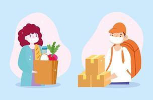 comestibles y entrega de paquetes seguros para el coronavirus