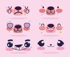 Kawaii bear face expressions emoji set vector
