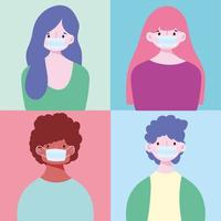 Set of young people wearing masks vector