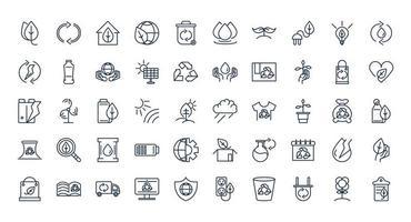 Conjunto de iconos de línea de ecología y sostenibilidad vector