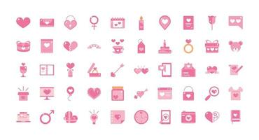 Romantic Valentine's Day pink icons set vector