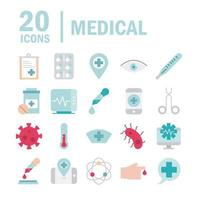 Medical and health related flat style icon set