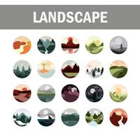 Landscapes flat style icon set vector