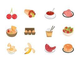 Conjunto de iconos de comida variada