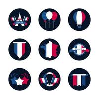 Set of French icons vector