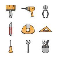 conjunto de iconos de construcción y herramientas
