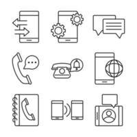 Electronic devices line-art icons set