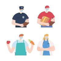 quatro bustos de design plano para trabalhadores essenciais